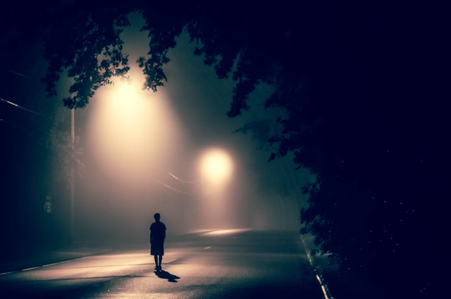 pic of a lonely person walking